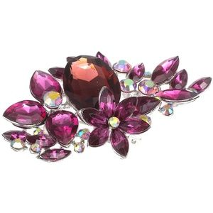 New Victorian Style Large Rhinestone Floral Brooch